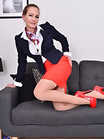Horny Stewardess MILF playing in her off time